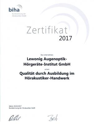 Zertifikat: Qualität durch Ausbildung im Hörakustikerhandwerk.