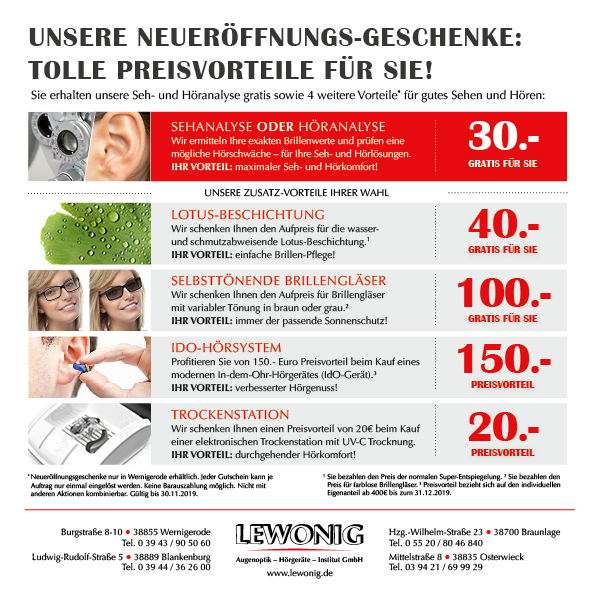Lewonig Neueröffnungsangebote in Wernigerode